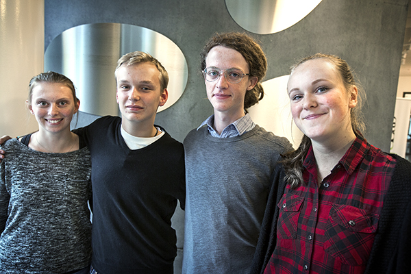 From the left: Nathalie Höri, Erik Håkansson, Isaac Tiselius and Emmy Lindberg.