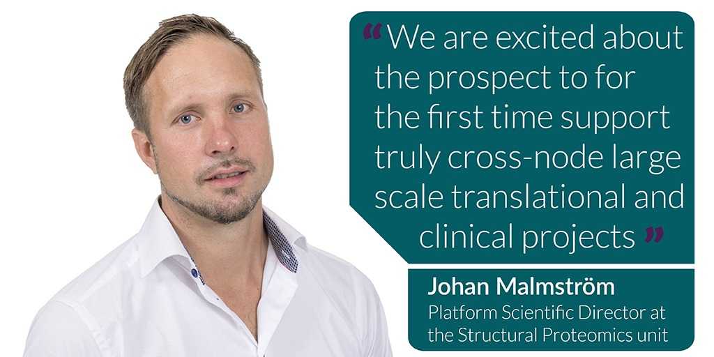 We are excited about the prospect to for the first time support truly cross-node large scale translational and clinical projects says Johan Malmström Platform Scientific Director at the Structural Proteomics unit
